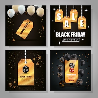 Set di banner di venerdì nero e decorazione