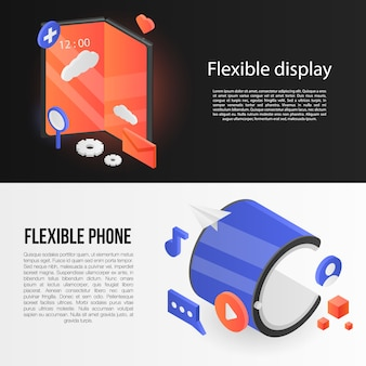 Set di banner display flessibile, stile isometrico