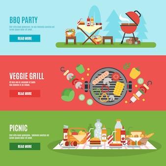 Set di banner festa barbecue