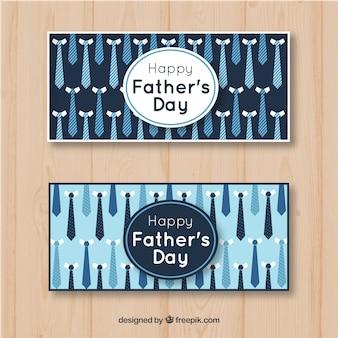 Set di banner festa del papà con pattern di cravatte