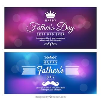 Set di banner festa del papà con sfondo sfocato