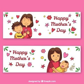 Set di banner festa della mamma con la famiglia felice