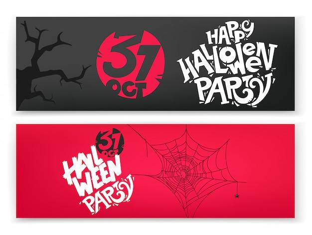 Set di banner festa di halloween felice