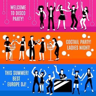 Set di banner festa in discoteca