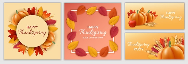 Set di banner festival del giorno del ringraziamento