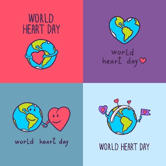 Set di banner giornata mondiale del cuore