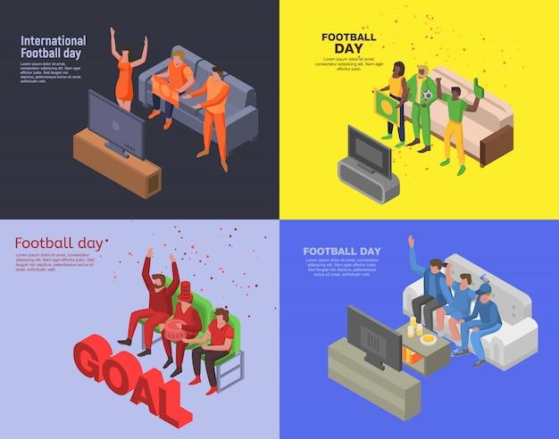 Set di banner giorno di calcio. insieme isometrico dell'insegna di vettore di giorno di calcio per web design