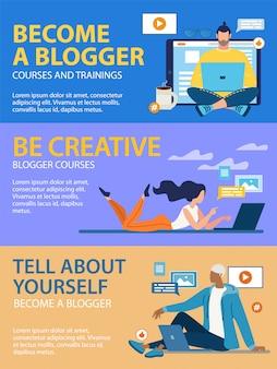 Set di banner informativi diventa un blogger piatto.
