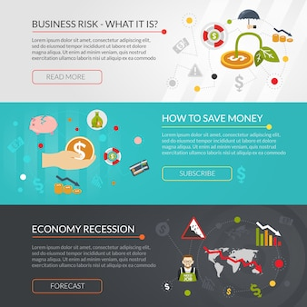 Set di banner interattivi piane di crisi finanziaria