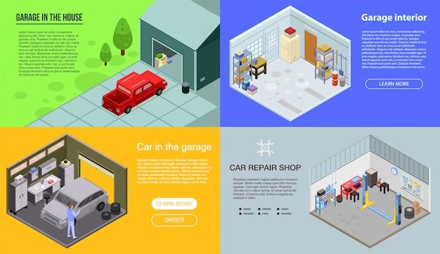 Set di banner interni garage. insieme isometrico dell'insegna di vettore di interno del garage per web design