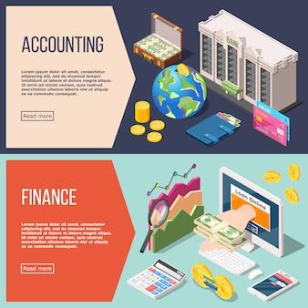 Set di banner isometrica contabilità