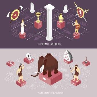 Set di banner isometrica del museo di antichità