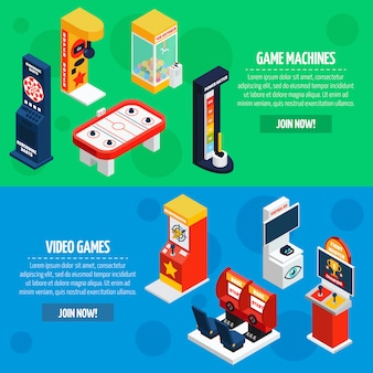 Set di banner isometrica di macchine da gioco