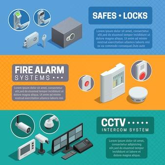 Set di banner isometrica sistema di sicurezza domestica