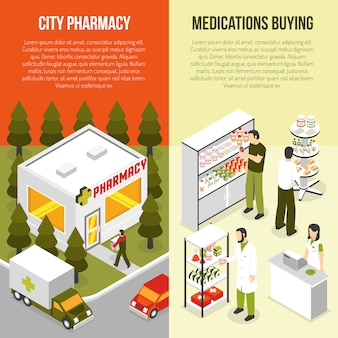 Set di banner isometrica verticale farmacia