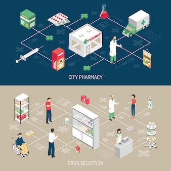 Set di banner isometriche orizzontali di farmacia 2