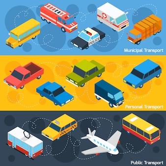 Set di banner isometrici di trasporto