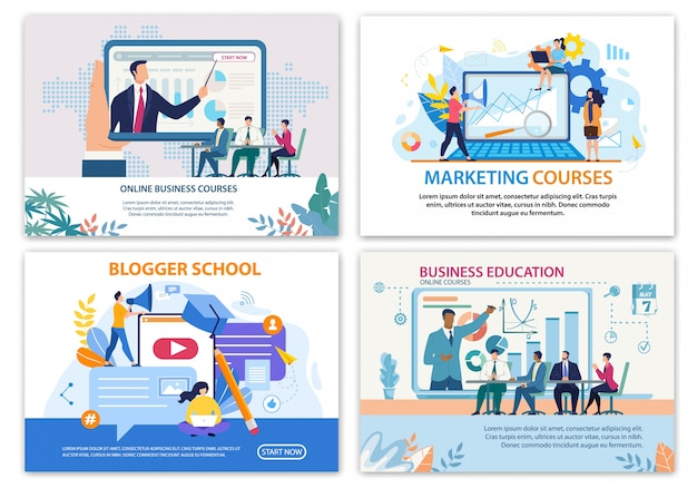 Set di banner luminosi, corsi di business online piatti
