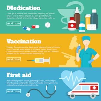 Set di banner medicina piatta