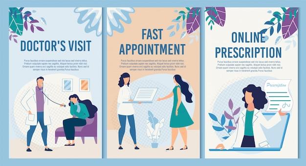 Set di banner medico verticale informativo piatto