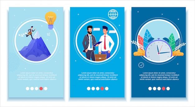 Set di banner mobili media di sviluppo aziendale