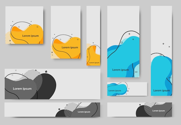 Set di banner modello liquido astratto
