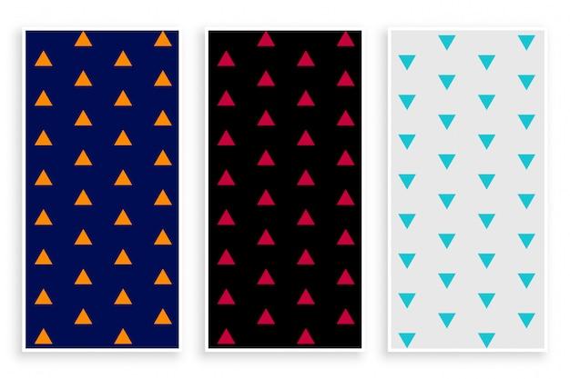Set di banner modello ripetizione triangolo