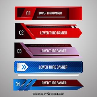 Set di banner moderni astratti per la televisione