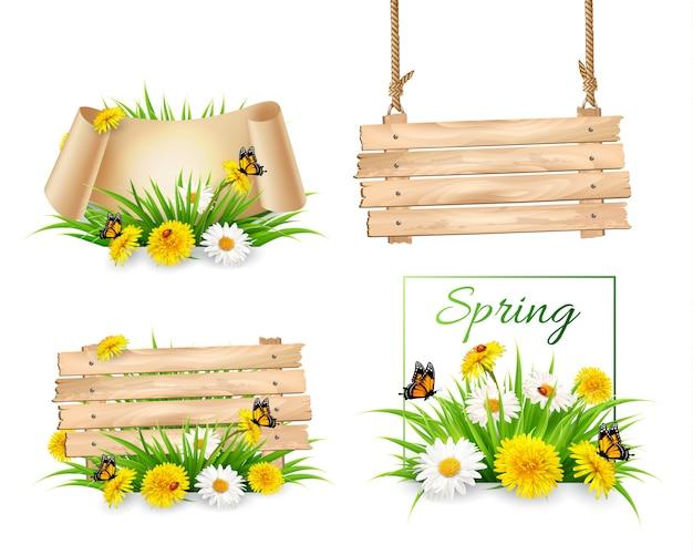Set di banner natura primavera con fiori e un cartello in legno. .