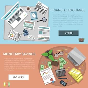 Set di banner orizzontale della banca