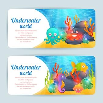 Set di banner orizzontale di animali marini subacquei