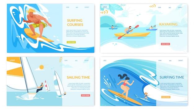 Set di banner orizzontale di attività di sport acquatici kayak