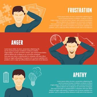 Set di banner orizzontale di concetto di stress