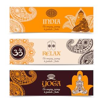 Set di banner orizzontale di cultura indiana 3