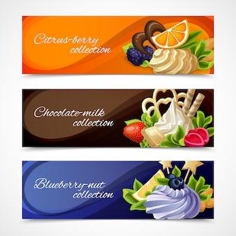Set di banner orizzontale di dolci