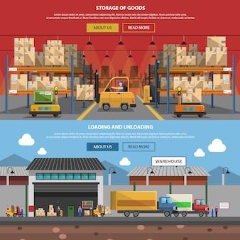 Set di banner orizzontale di magazzino