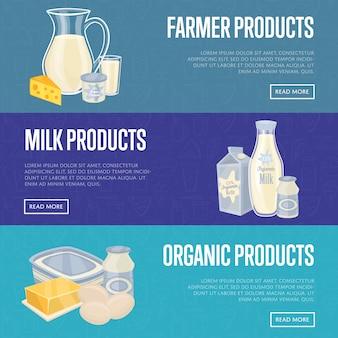 Set di banner orizzontale di prodotti lattiero-caseari