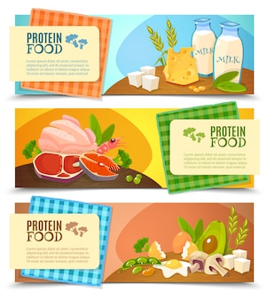 Set di banner orizzontale piatto di cibo di proteine