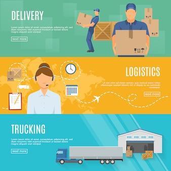 Set di banner orizzontale piatto di logistica