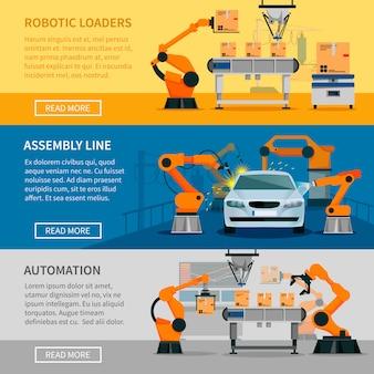 Set di banner orizzontali di automazione