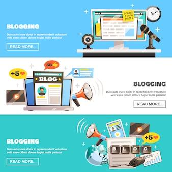 Set di banner orizzontali di blogging