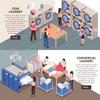 Set di banner orizzontali di lavanderia