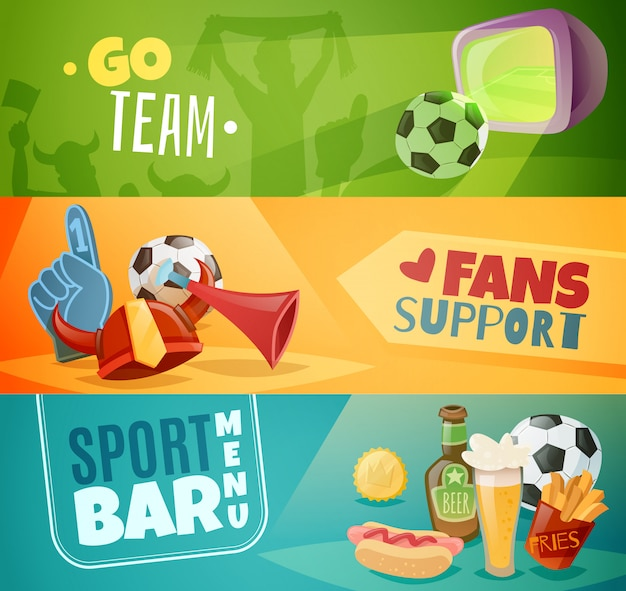 Set di banner orizzontali di sport bar