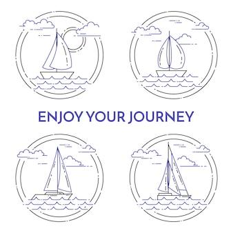 Set di banner orizzontali di viaggio con barca a vela
