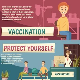 Set di banner ortogonali per vaccinazione obbligatoria