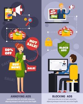 Set di banner ortogonali pubblicitari fastidiosi e intrusivi