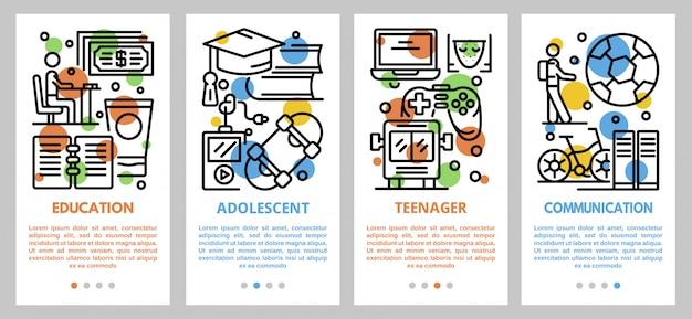Set di banner per adolescenti, struttura di stile
