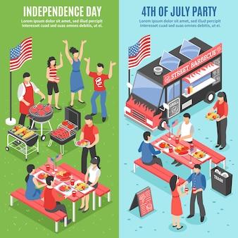 Set di banner per barbecue del 4 luglio