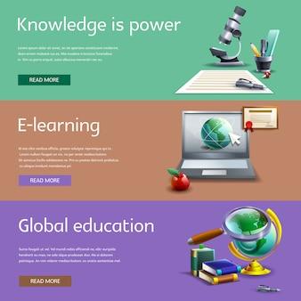 Set di banner per istruzione e studio