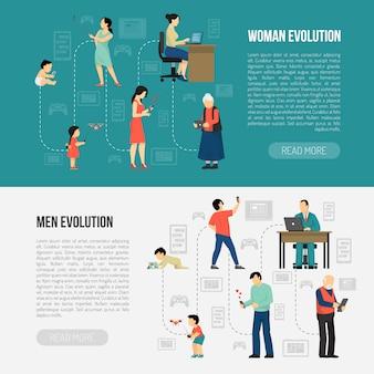 Set di banner per l'evoluzione di genere